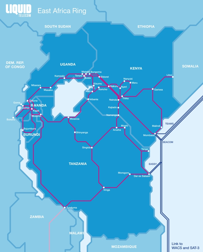 Liquid Telecom East Africa Ring Map